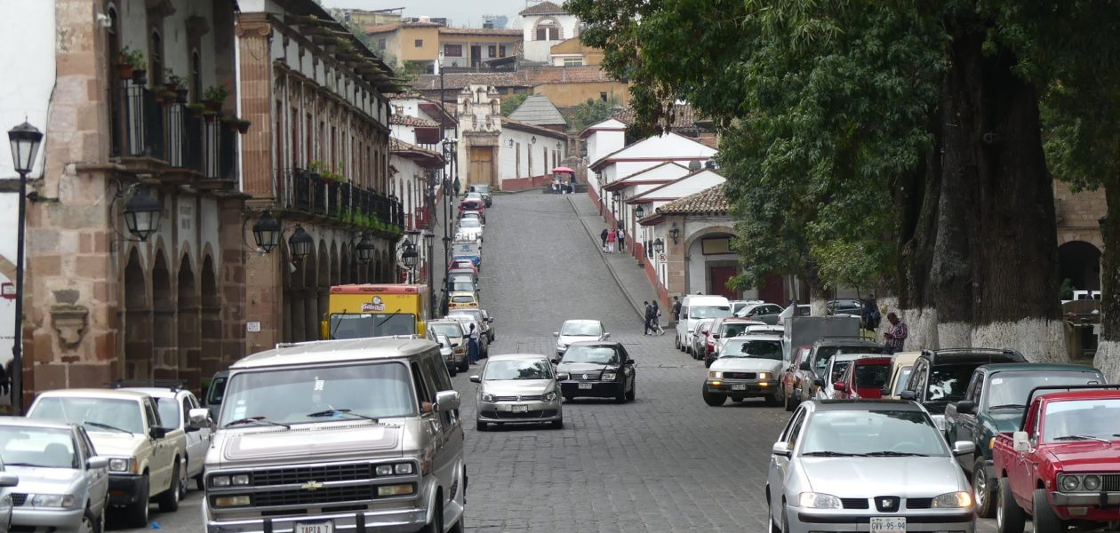 Patzcuaro town scenes, cobbled stone streets, well preserved