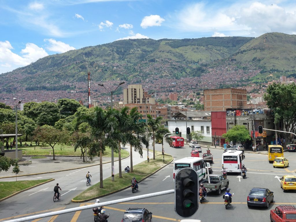 View of communities built on the hillsides of Medellin